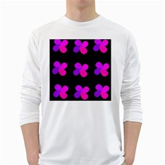 Purple flowers White Long Sleeve T-Shirts
