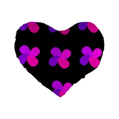 Purple flowers Standard 16  Premium Flano Heart Shape Cushions