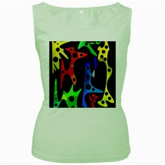 Colorful abstract pattern Women s Green Tank Top