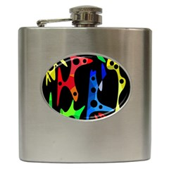 Colorful abstract pattern Hip Flask (6 oz)