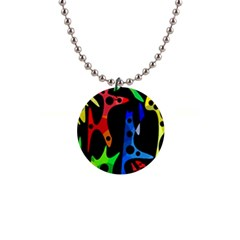 Colorful abstract pattern Button Necklaces