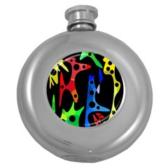 Colorful abstract pattern Round Hip Flask (5 oz)