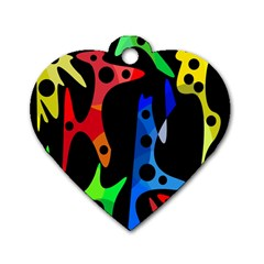 Colorful abstract pattern Dog Tag Heart (Two Sides)
