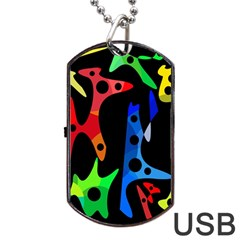 Colorful abstract pattern Dog Tag USB Flash (Two Sides)