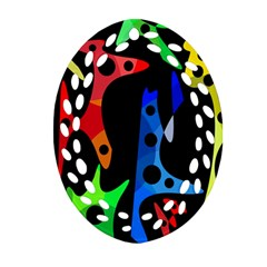 Colorful abstract pattern Oval Filigree Ornament (2-Side)
