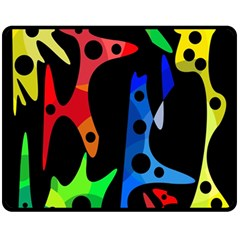 Colorful abstract pattern Double Sided Fleece Blanket (Medium)