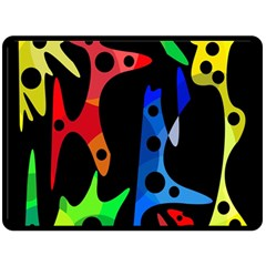 Colorful abstract pattern Double Sided Fleece Blanket (Large)