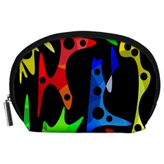 Colorful abstract pattern Accessory Pouches (Large)