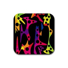 Colorful pattern Rubber Square Coaster (4 pack)