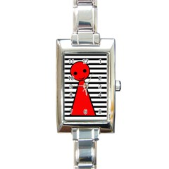 Red pawn Rectangle Italian Charm Watch
