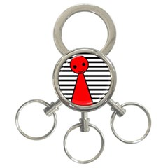Red pawn 3-Ring Key Chains