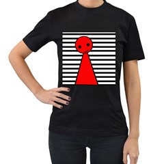 Red pawn Women s T-Shirt (Black) (Two Sided)