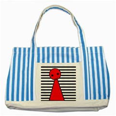Red pawn Striped Blue Tote Bag