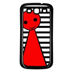 Red pawn Samsung Galaxy S3 Back Case (Black)