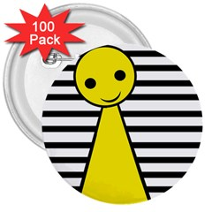 Yellow pawn 3  Buttons (100 pack)