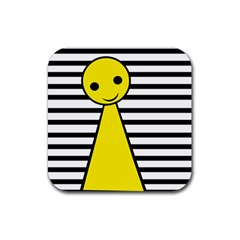 Yellow pawn Rubber Coaster (Square)