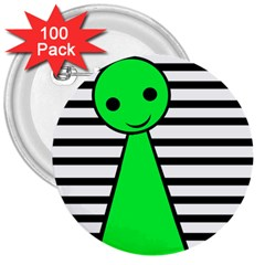Green pawn 3  Buttons (100 pack)