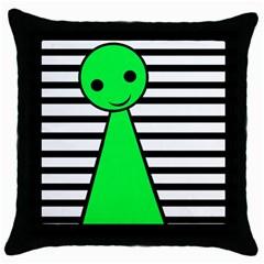 Green pawn Throw Pillow Case (Black)