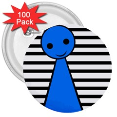 Blue pawn 3  Buttons (100 pack)