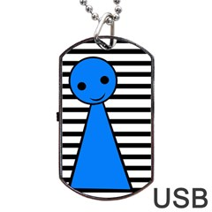 Blue Pawn Dog Tag Usb Flash (one Side)