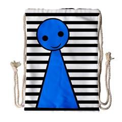 Blue pawn Drawstring Bag (Large)