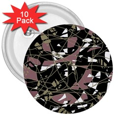 Artistic abstract pattern 3  Buttons (10 pack)