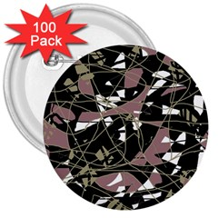 Artistic abstract pattern 3  Buttons (100 pack)
