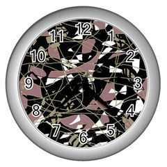 Artistic abstract pattern Wall Clocks (Silver)
