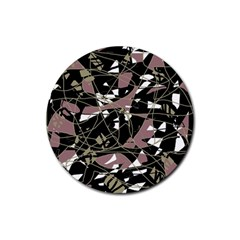 Artistic abstract pattern Rubber Coaster (Round)
