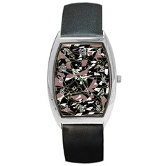 Artistic abstract pattern Barrel Style Metal Watch