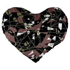 Artistic abstract pattern Large 19  Premium Flano Heart Shape Cushions