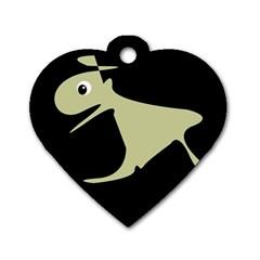 Kangaroo Dog Tag Heart (One Side)