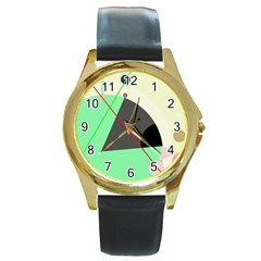 Decorative abstract design Round Gold Metal Watch