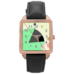 Decorative abstract design Rose Gold Leather Watch