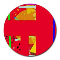 Red abstraction Round Mousepads