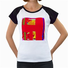 Red abstraction Women s Cap Sleeve T