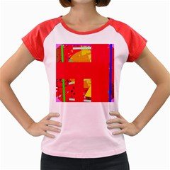Red abstraction Women s Cap Sleeve T-Shirt