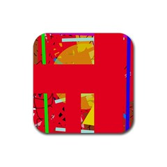 Red abstraction Rubber Square Coaster (4 pack)