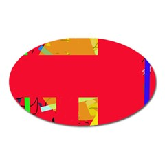 Red abstraction Oval Magnet