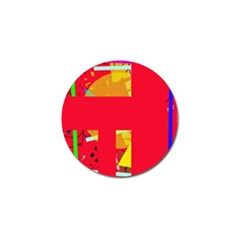 Red abstraction Golf Ball Marker