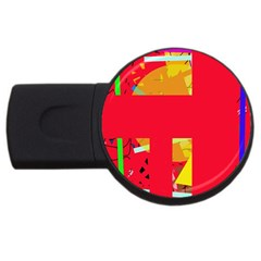 Red Abstraction Usb Flash Drive Round (2 Gb)