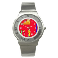 Red abstraction Stainless Steel Watch