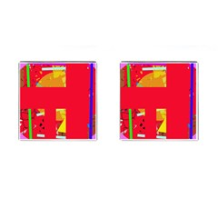 Red abstraction Cufflinks (Square)