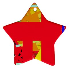 Red abstraction Star Ornament (Two Sides)