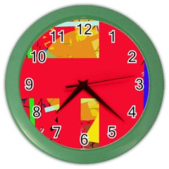 Red abstraction Color Wall Clocks