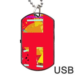 Red abstraction Dog Tag USB Flash (Two Sides)