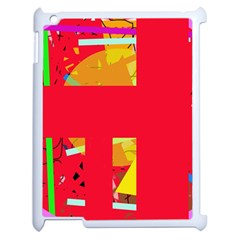 Red abstraction Apple iPad 2 Case (White)