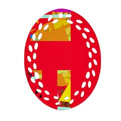 Red abstraction Oval Filigree Ornament (2-Side)