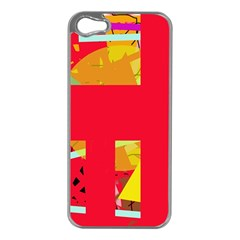 Red abstraction Apple iPhone 5 Case (Silver)