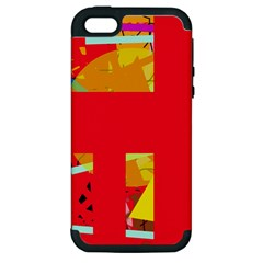 Red abstraction Apple iPhone 5 Hardshell Case (PC+Silicone)